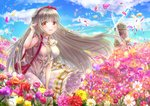 1girl bangs blue_sky blunt_bangs bow braid cloud day dress eyebrows_visible_through_hair field floating_hair flower flower_field hair_bow hairband long_dress long_hair looking_at_viewer outdoors pink_flower red_bow red_flower red_hairband rouche_(shironeko_project) shironeko_project silver_hair sky sleeveless sleeveless_dress solo standing sundress tamaso very_long_hair white_dress white_flower windmill yellow_eyes yellow_flower