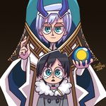 2boys black_hair blue_eyes blue_horns coat commentary_request darling_in_the_franxx eyebrows_visible_through_hair fur_trim grey_coat hair_ornament hairband hiro_(darling_in_the_franxx) holding horns light_blue_hair looking_at_viewer male_focus multiple_boys oni_horns papa_(darling_in_the_franxx) sandforte short_hair signature tears white_hairband winter_clothes winter_coat