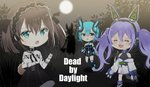3girls =_= ahoge animal_ear_headphones animal_ears aqua_hair asymmetrical_legwear bangs bare_shoulders black_dress black_hairband black_legwear black_ribbon black_skirt blush boots breasts brown_hair chibi closed_eyes copyright_request crying dead_by_daylight detached_sleeves dress elbow_gloves eyebrows_visible_through_hair frilled_skirt frills gloves green_eyes hair_between_eyes hair_ribbon hairband headphones highres japanese_clothes kimono koma_shibari long_hair long_sleeves multiple_girls myusha obi off_shoulder open_mouth partly_fingerless_gloves purple_footwear purple_hair ribbon sash shirt short_dress short_kimono silhouette single_thighhigh skirt sleeveless sleeveless_dress small_breasts sweat tail tears thighhighs twintails underbust very_long_hair virtual_youtuber white_gloves white_kimono white_shirt