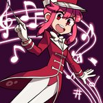 1girl bangs baton_(instrument) beamed_eighth_notes bow bowtie eighth_note eyebrows_visible_through_hair flat_sign gloves hair_between_eyes highres jakuzure_nonon kill_la_kill legs_together lkll long_hair long_sleeves looking_at_viewer musical_note pantyhose pink_hair purple_background red_eyes round_teeth sharp_sign solo staff_(music) symphony_regalia teeth turtleneck white_bow white_gloves white_legwear white_neckwear