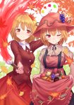2girls ;) aki_minoriko aki_shizuha apple arm_up autumn_leaves bangs beige_shirt black_choker blonde_hair blush breasts choker commentary_request cowboy_shot dress eyebrows_visible_through_hair food food_themed_hair_ornament frills fruit grape_hair_ornament grapes hair_between_eyes hair_ornament hat highres holding holding_paintbrush juliet_sleeves lace-trimmed_collar lace_trim leaf leaf_hair_ornament long_sleeves looking_at_viewer medium_breasts multiple_girls mushroom nail_polish one_eye_closed paintbrush palette persimmon puffy_sleeves red_eyes red_hat red_nails red_shirt red_skirt ribbon_choker roke_(taikodon) shirt short_hair siblings sisters skirt skirt_hold smile standing strapless strapless_dress suspenders sweet_potato touhou white_background