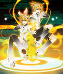 1boy 1girl absurdres aqua_eyes arm_warmers bass_clef binary blonde_hair brother_and_sister detached_sleeves hair_ornament hair_ribbon hairclip headphones highres kagamine_len kagamine_len_(append) kagamine_rin kagamine_rin_(append) leg_warmers navel revision ribbon rico_(fbn3) short_hair shorts siblings treble_clef twins vocaloid vocaloid_append