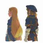 1boy 1girl cropped_torso earrings from_behind gloves jewelry link lip_(lih8) long_hair pointy_ears princess_zelda short_ponytail the_legend_of_zelda the_legend_of_zelda:_breath_of_the_wild very_long_hair white_background white_gloves