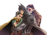 3boys batman batman_(series) black_gloves boy_sandwich cape dc_comics elbow_gloves gloves green_gloves hug hug_from_behind jason_todd leather_jacket mask mozu_suka multiple_boys muscle no_pupils nose robin_(dc) sandwiched superhero