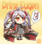 1girl antenna_hair azur_lane boots chibi commentary eyebrows_visible_through_hair finger_to_mouth fox_mask garter_straps gloves hair_ornament hisahiko long_hair long_sleeves machinery mask military military_uniform orange_eyes prinz_eugen_(azur_lane) signature silver_hair solo striped striped_background thought_bubble turret two_side_up uniform