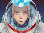 1boy astronaut blue_eyes helmet kurokiseow looking_at_viewer male_focus nanba_hibito portrait smile solo space spacesuit tears uchuu_kyoudai white_hair