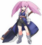 1girl axe bangs bare_shoulders bike_shorts black_shorts blue_coat blue_eyes blush closed_mouth commentary_request elbow_gloves eyebrows_visible_through_hair full_body gloves grey_gloves hair_between_eyes holding holding_axe karukan_(monjya) long_hair looking_at_viewer pink_hair presea_combatir short_shorts shorts sidelocks simple_background sleeveless sleeveless_coat solo standing tales_of_(series) tales_of_symphonia twintails white_background