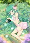1girl absurdres bare_arms bare_legs bare_shoulders bug butterfly dragon_girl dragon_horns dragon_tail earrings flower green_eyes green_hair hair_flower hair_ornament highres horns insect jewelry leaf long_hair monster_girl orb original pointy_ears raonnoy skirt solo tail white_butterfly