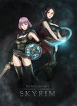2girls black_hair black_legwear boots breasts brown_eyes cape cleavage dawnbreaker fingerless_gloves gloves glowing hato_(yuki-n-hif) levitation magic multiple_girls ponytail purple_hair red_eyes shield short_hair sword the_elder_scrolls the_elder_scrolls_v:_skyrim thighhighs weapon