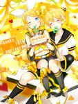 1boy 1girl ^_^ anniversary aqua_eyes bare_shoulders bass_clef birthday birthday_cake blonde_hair blue_eyes blush bow brother_and_sister cake closed_eyes detached_sleeves food grin hair_bow hair_ornament hair_ribbon hairclip happy_birthday headphones headset heart highres kagamine_len kagamine_rin midriff mouth_hold navel necktie one_eye_closed oyamada_(pi0v0jg) pigeon-toed pillow ribbon sailor_collar short_ponytail shorts siblings sitting sitting_on_person smile socks twins vocaloid yellow_background yellow_neckwear