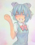 1girl :d acrylic_paint_(medium) blue_dress blue_eyes blue_hair bow cirno clenched_hand cowboy_shot dress gradient gradient_background graphite_(medium) hair_bow highres looking_at_viewer open_mouth raised_hand ribbon short_hair simple_background smile solo touhou traditional_media watercolor_(medium) yuyu_(00365676)