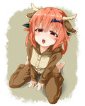 1girl :o animal_costume animal_ears antlers barefoot blush commentary_request eyebrows from_above full_body gabriel_dropout hair_ribbon highres kurumizawa_satanichia_mcdowell long_hair looking_at_viewer open_mouth pajamas red_eyes red_hair reindeer_costume revision ribbon sazanka shadow sitting solo teeth tongue wariza