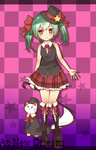1girl aqua_hair bare_shoulders boots bow bowtie cane cat engrish hair_bow hair_ribbon hat hatsune_miku highres plaid ranguage red_eyes ribbon skirt smile solo top_hat tosura-ayato twintails vocaloid