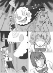 3girls charlotte_(madoka_magica) comic drill_hair kaname_madoka mahou_shoujo_madoka_magica mami_mogu_mogu miki_sayaka monochrome multiple_girls nemo_(nameless920) sharp_teeth spoilers teeth tomoe_mami