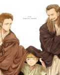3boys anakin_skywalker beard blonde_hair brown_hair cloak copyright_name facial_hair jedi matsuri6373 multiple_boys obi-wan_kenobi ponytail qui-gon_jinn star_wars star_wars:_the_phantom_menace younger