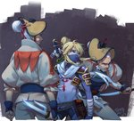 3boys alternate_costume alternate_hairstyle blue_eyes bodysuit cado_(zelda) commentary_request dagger dorian_(zelda) face_mask facial_hair fighting_stance goatee hair_bun hair_ornament hair_stick hand_on_hilt headgear link male_focus mask multiple_boys mustache natsuyon ninja old_man over_shoulder pointy_ears reverse_grip sai_(weapon) sheikah_slate shoulder_armor sideburns sidelocks sword sword_over_shoulder the_legend_of_zelda the_legend_of_zelda:_breath_of_the_wild weapon weapon_over_shoulder white_hair