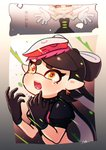 +_+ 1girl 2koma aori_(splatoon) artist_name black_dress black_gloves black_hair black_shirt brown_eyes closed_eyes collar comic commentary coula_cat cousins crop_top crying crying_with_eyes_open detached_collar domino_mask dress earrings fangs food food_on_head frown gloves grey_hair grin highres hotaru_(splatoon) jewelry long_hair mask mole mole_under_eye object_on_head open_mouth outstretched_arms pointy_ears puffy_short_sleeves puffy_sleeves shirt short_sleeves signature smile solo spiked_collar spikes splatoon_(series) splatoon_1 splatoon_2 strapless strapless_dress tako-san_wiener tears tentacle_hair upper_body white_gloves