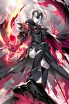 1girl ahoge armor armored_boots armored_dress bangs black_legwear boots breasts cape cloud cloudy_sky commentary_request dress eyebrows_visible_through_hair fate/grand_order fate_(series) fire fur-trimmed_cape fur_collar fur_trim gauntlets headpiece holding holding_sword holding_weapon jeanne_d'arc_(alter)_(fate) jeanne_d'arc_(fate)_(all) kousaki_rui large_breasts long_hair looking_at_viewer medium_breasts open_mouth outdoors short_hair signature silver_hair sky smile solo sword thighhighs torn_clothes torn_legwear tsurime weapon yellow_eyes