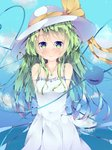 1girl alternate_costume alternate_headwear arms_behind_back bare_shoulders blue_sky blush breasts cloud collarbone commentary cowboy_shot day dress eyebrows_visible_through_hair fant green_eyes green_hair hat hat_ribbon heart heart_of_string highres jewelry komeiji_koishi long_hair looking_at_viewer messy_hair necklace outdoors pendant ribbon sky sleeveless sleeveless_dress small_breasts smile solo standing sundress third_eye touhou very_long_hair white_dress