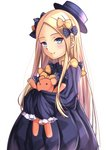 1girl abigail_williams_(fate/grand_order) absurdres bangs black_bow black_dress black_hat blonde_hair blue_eyes blush bow closed_mouth commentary_request dress eyebrows_visible_through_hair fate/grand_order fate_(series) forehead hair_bow hat head_tilt highres long_hair long_sleeves looking_at_viewer mishiro0229 object_hug orange_bow parted_bangs polka_dot polka_dot_bow simple_background sleeves_past_fingers sleeves_past_wrists smile solo stuffed_animal stuffed_toy teddy_bear upper_body very_long_hair white_background