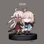 2girls ahoge bangs black_dress blonde_hair blue_eyes blunt_bangs breasts chibi commentary dress fate/grand_order fate_(series) full_body holding_hands kyou_(ningiou) long_hair medium_breasts multiple_girls okita_souji_(fate) okita_souji_alter_(fate) pixiv_fate/grand_order_contest_2 ponytail short_hair silver_hair smile standing thighhighs yellow_eyes