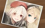 2girls bangs beret blonde_hair blue_eyes blush braid commentary_request eyebrows_visible_through_hair eyes_visible_through_hair floating_hair g36_(girls_frontline) g36c_(girls_frontline) girls_frontline grey_hair hair_over_one_eye hat jacket light_particles long_hair looking_at_viewer maid maid_headdress military military_uniform multiple_girls open_mouth parted_lips photo_(object) red_eyes shirt shuzi side_braid silver_hair smile tareme tsurime uniform white_shirt
