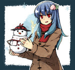 1girl blue_hair bow bust coat electricity food fruit hat hat_bow hinanawi_tenshi holding long_hair nagae_iku_(cosplay) no_hat open_mouth peach red_eyes scarf snowman solo suzuki_natsume touhou winter_clothes