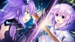 2girls battle blue_eyes braid brave_neptune breasts clash d-pad d-pad_hair_ornament duel game_cg hair_ornament highres long_hair looking_at_viewer multiple_girls neptune_(neptune_series) neptune_(series) official_art open_mouth purple_eyes purple_hair purple_heart short_hair sword symbol-shaped_pupils tsunako twin_braids very_long_hair weapon wooden_sword