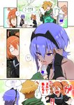 1boy 2girls adjusting_hair ahoge arrow bare_shoulders black_gloves black_hairband black_leotard black_skirt blonde_hair blush bottle cape center_opening cloak comic commentary_request cooking dark_skin fate/extra fate/grand_order fate/prototype fate/prototype:_fragments_of_blue_and_silver fate_(series) fingerless_gloves fire fish fujimaru_ritsuka_(female) gloves green_eyes hair_ornament hair_over_one_eye hair_scrunchie hairband hassan_of_serenity_(fate) highres holding leotard multiple_girls one_side_up open_mouth orange_eyes orange_hair polar_chaldea_uniform purple_eyes purple_hair robin_hood_(fate) saliva scrunchie side_ponytail skirt tongue tongue_out torichamaru translated