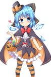 1girl adapted_costume blue_eyes blue_hair blush bow bowtie candy cape cirno corset detached_wings food frilled_shirt frilled_skirt frills hair_bow halloween halloween_basket halloween_costume hand_up hat heart highres ice ice_wings kuraaken large_bow looking_at_viewer mini_hat open_mouth pantyhose puffy_short_sleeves puffy_sleeves shirt short_sleeves simple_background skirt solo striped striped_legwear top_hat touhou white_background wings