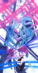 1girl :d absurdly_long_hair aqua_eyes aqua_hair bangs black_legwear black_shorts blush breasts commentary detached_sleeves digital_dissolve disintegration floating_hair green_hair hair_between_eyes hands_up hatsune_miku highres jacket jumping long_hair looking_at_viewer multicolored_hair open_clothes open_jacket open_mouth purple_jacket shirt shoes short_shorts shorts sidelocks sieru smile sneakers solo thigh_strap thighhighs twintails very_long_hair vocaloid white_shirt wind