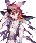 1boy adjusting_headwear collarbone crobat earrings groin hat jewelry licking_lips male_focus navel necklace personification pokemon red_hair solo suana tongue tongue_out yellow_eyes