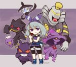1girl @_@ alternate_color banette blue_belt blue_shoes bow dress drifloon dusknoir gengar grey_hair hair_bow hair_ornament haruka_(pokemon) haruka_(pokemon)_(remake) lampent mismagius poke_ball pokemon pokemon_(game) pokemon_oras purple purple_background purple_dress purple_eyes red_eyes satsumai shoes short_hair short_sleeves smile sneakers striped striped_bow tagme