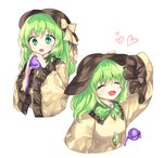 1girl :d ^_^ ^o^ blouse bow cheunes closed_eyes commentary english_commentary eyeball green_eyes green_hair hat hat_bow hat_ribbon heart komeiji_koishi long_hair open_mouth ribbon sleeves_past_wrists smile solo third_eye touhou wide_sleeves