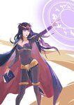1girl absurdres black_hair book bracelet breasts cape circlet cleavage elbow_gloves fire_emblem fire_emblem:_kakusei full_body gloves highres holding holding_book jewelry lace long_hair magic magic_circle smile solo tharja thighhighs