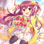 1girl amane_kurumi bouquet curtains dress flower hair_flower hair_ornament heart long_hair open_mouth original pillow purple_hair sitting smile solo thighhighs twintails window yellow_eyes