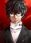 1boy black_eyes black_hair commentary_request glasses male persona persona_5 protagonist_(persona_5) school_uniform yasshan