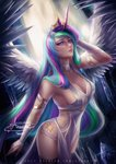 1girl alexandra_mae blue_hair breasts celestia_(my_little_pony) cleavage crown cutie_mark green_hair highres horn large_breasts long_hair multicolored_hair my_little_pony my_little_pony_friendship_is_magic personification pink_hair purple_eyes purple_hair solo translucent_dress very_long_hair wings