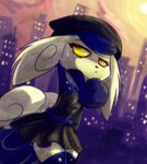 1girl :< artist_name blue_hair building cat city clothed_pokemon furry gen_6_pokemon hat looking_away looking_to_the_side meowstic no_humans pokemon pokemon_(creature) skirt sky solo sun thighhighs yellow_eyes