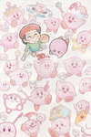 1girl :d adeleine anniversary art_brush blush_stickers copy_ability crown english from_above hamster highres kirby kirby's_dream_land kirby's_epic_yarn kirby_(series) kirby_64 kirby_and_the_amazing_mirror kirby_canvas_curse kirby_super_star md5_mismatch oda_takashi open_mouth paintbrush palette revision rick_(kirby) scepter smile standing star treasure_chest umbrella wand
