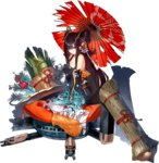 1girl alternate_costume bare_shoulders black_hair breasts broken_umbrella cleavage full_body garuku hair_over_one_eye holding holding_umbrella japanese_clothes kimono long_hair looking_at_viewer medium_breasts official_art oriental_umbrella oshiro_project oshiro_project_re ponytail purple_eyes seiza shigisan_(oshiro_project) sitting solo torn_clothes torn_kimono transparent_background umbrella