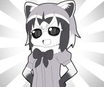 1girl :d animal_ears bow commentary common_raccoon_(kemono_friends) fur_collar greyscale gyari_(imagesdawn)_(style) hands_on_hips kemono_friends looking_at_viewer monochrome multicolored_hair nandemo_iu_koto_wo_kiite_kureru_akane-chan_(voiceroid) nyifu open_mouth parody puffy_short_sleeves puffy_sleeves raccoon_ears short_hair short_sleeves smile smug solo sunburst sunburst_background sunglasses upper_body v-shaped_eyebrows