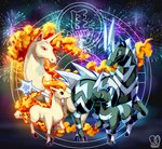 black_background blitzle blue_eyes brown_eyes chinese_zodiac commentary eye_contact fireworks gen_1_pokemon gen_5_pokemon highres horse looking_at_another no_humans pokemon pokemon_(creature) ponyta rapidash red_eyes sa-dui signature watermark year_of_the_horse yellow_sclera zebstrika