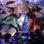 2girls black_bow black_legwear black_scarf blonde_hair bow breasts cherry_blossoms cleavage dark_skin eye_contact fate/grand_order fate_(series) fighting floating_hair full_moon grey_kimono hair_bow hair_ribbon haori high-waist_skirt highres holding holding_sword holding_weapon japanese_clothes katana kimono lizi13896363898 long_hair looking_at_another medium_breasts moon multiple_girls night obi okita_souji_(alter)_(fate) okita_souji_(fate) okita_souji_(fate)_(all) open_mouth outdoors red_ribbon red_skirt ribbon sash scarf short_kimono silver_hair skirt smile sword thighhighs very_long_hair weapon yellow_eyes