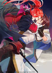 2boys alternate_costume alternate_hairstyle belt black_gloves boots bow brown_footwear brown_hair cape eye_contact gloves hair_bow kratos_aurion long_hair looking_at_another male_focus multiple_boys ponytail rapier red_bow red_hair rikoe signature sword tales_of_(series) tales_of_symphonia watermark weapon web_address white_gloves zelos_wilder