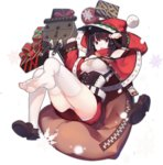 1girl :d animal_ears azur_lane bangs bare_shoulders black_hair capelet cat_ears christmas eyebrows_visible_through_hair fang feet full_body gift hood hood_up loafers long_sleeves machinery official_art open_mouth panties pantyshot pantyshot_(sitting) rain_lan red_capelet red_eyes sack santa_costume shiny shiny_hair shirt shoes short_hair simple_background single_shoe sitting smile snow snowflakes solo thighhighs tongue transparent_background underwear white_legwear white_panties white_shirt yamashiro_(azur_lane) zipper zipper_pull_tab