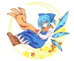 1girl alternate_hairstyle blue_dress blue_eyes blue_hair boots cirno cirno-nee commentary_request dress hair_ribbon ice ice_wings looking_at_viewer ponytail ribbon scarf short_hair smile soiru solo touhou white_background wings