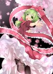 1girl boots bow dress flower frills front_ponytail green_eyes green_hair hair_bow hair_ribbon kagiyama_hina loki_78 ribbon solo touhou