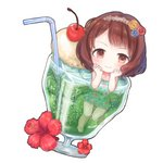 1girl :> air_bubble aqua_swimsuit bangs bendy_straw blue_flower blush brown_hair bubble cherry chibi closed_mouth collarbone cup dot_nose drinking_glass drinking_straw dutch_angle floral_print flower food frilled_swimsuit frills fruit glass hair_flower hair_ornament hairband hands_on_own_face hibiscus ice ice_cream ice_cream_float ice_cube idolmaster idolmaster_cinderella_girls in_container in_cup knees_together_feet_apart komoe_(hinagatu) lace_hairband leg_up looking_at_viewer martini minigirl nagatomi_hasumi one-piece_swimsuit partially_submerged red_flower red_rose rose short_hair simple_background smile solo swept_bangs swimsuit tareme wavy_hair white_background yellow_eyes yellow_flower yellow_rose