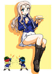 3girls andou_(girls_und_panzer) angry bc_freedom_military_uniform beans black_footwear black_hair blonde_hair blue_hat blue_jacket blue_oni blue_vest boots chibi closed_mouth commentary_request dark_skin dress_shirt drill_hair eating food food_on_face food_request fork full_body girls_und_panzer green_eyes grimace hat high_collar holding invisible_chair jacket lightning_bolt long_hair long_sleeves looking_at_viewer marie_(girls_und_panzer) medium_hair millipen_(medium) miniskirt multiple_girls oni oosaka_kanagawa oshida_(girls_und_panzer) outside_border plate pleated_skirt red_oni shadow shako_cap shirt sitting skirt standing throwing traditional_media vest white_skirt yellow_background